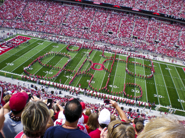 The Ohio State marching band performs the legendary script Ohio. Photo: Shutterstock
