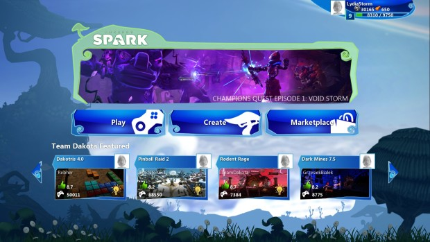 project-spark-home-screen