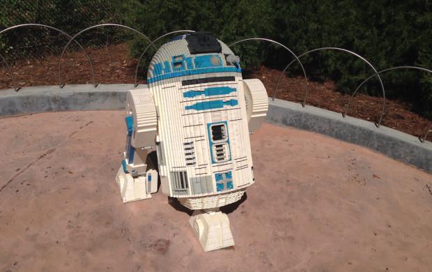 A R2-D2 replica made of Legos at Legoland Florida.
