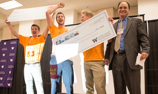 "Team ""FireBee"" won first place at the UW Environmental Challenge. Photo via UW."