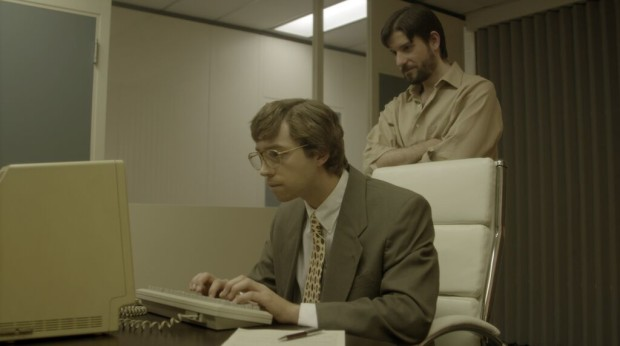 REENACTMENT- After Bill Gates improves the software for Job's Apple II computer,  Jobs shows him the new graphical user interface they are working on in hopes that Microsoft will write Apple's graphical user interface software for all their computers. (Photo Credit: National Geographic Channels/Evelyn Hockstein)