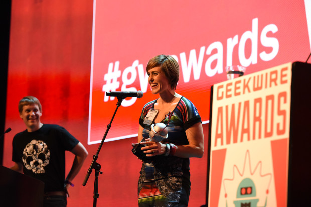 Nicole of Cambia Grove takes home the Newcomer of the Year Award at the 2015 GeekWire Awards