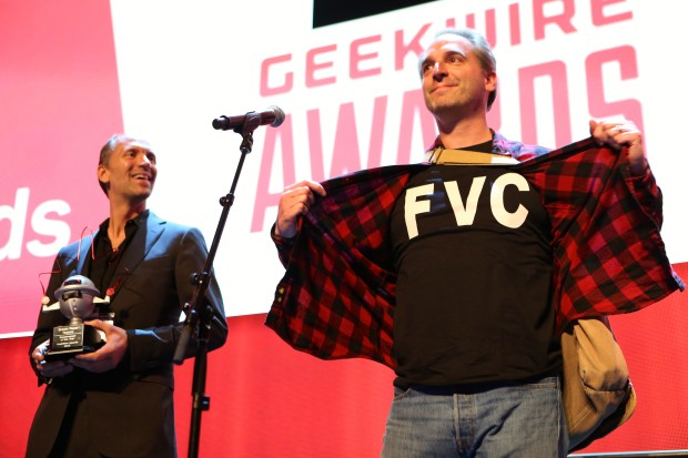 Brown Paper Tickets celebrates its win of Bootstrapper of the Year at the 2015 GeekWire Awards