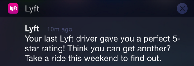 Lyft starting to show riders when they've been rated 5 stars