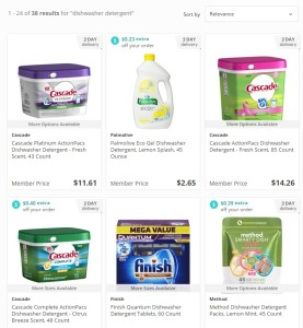 Some of the dishwashing detergent options on Jet.com.