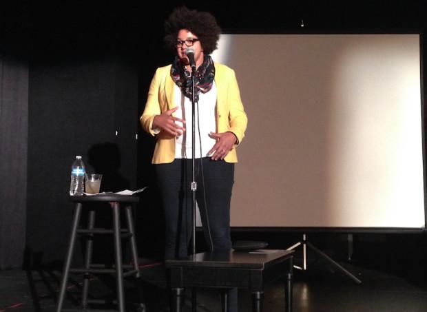 Tanisha Robinson of Print Syndicate speaking at Columbus Startup Week.