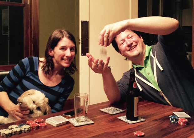 Caption: Sally and Doug playing poker. (Note who has the larger stack.)