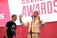 Avalara's Scott MacFarlane accepts the award for CEO of the Year at the 2015 GeekWire Awards