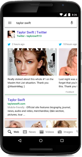 A search for Taylor Swift shows her latest tweets