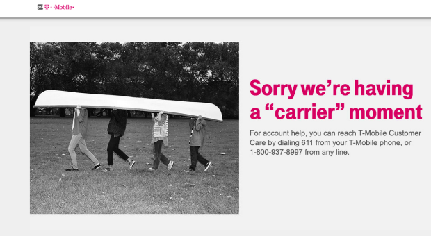 the error message on the my t mobile site