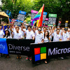 Microsoft employees march in the 2014 Pride Parade. (Photo: Microsoft GLEAM.)