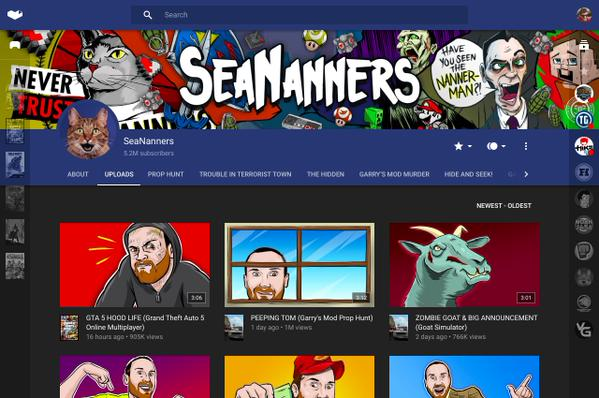 Seananners' YouTube Gaming page