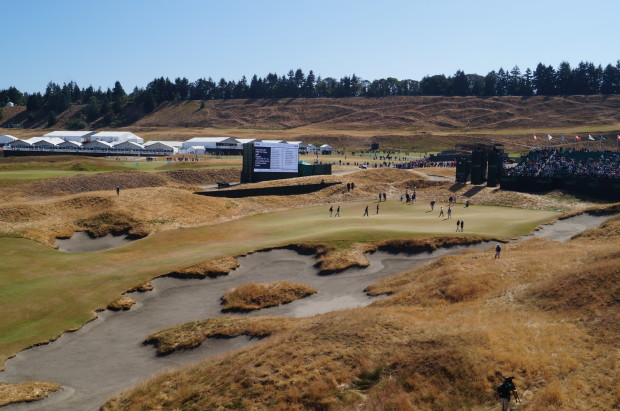The vast, and hilly terrain, of Chambers Bay makes it a tough viewing experience.