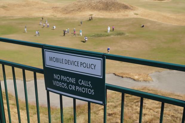 A sign at last year's U.S. Open at Chambers Bay near Tacoma, Wash.