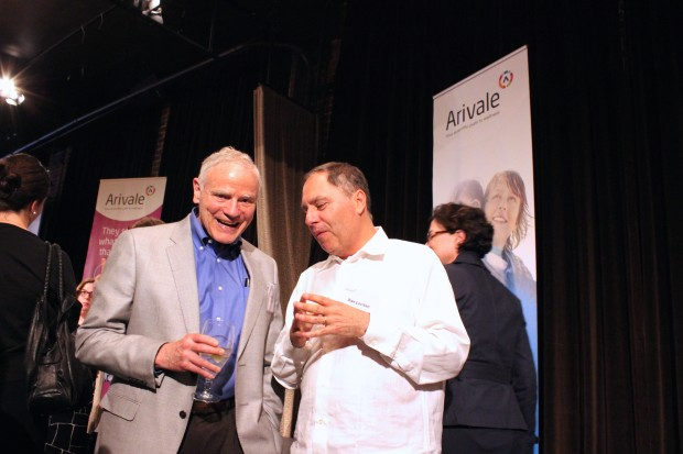 Lee Hood and Maveron co-founder Dan Levitan chat at Arivale's event on Wednesday.