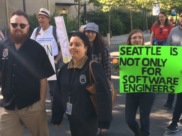 Protestors at Amazon's annual meeting this week. (GeekWire Photo)