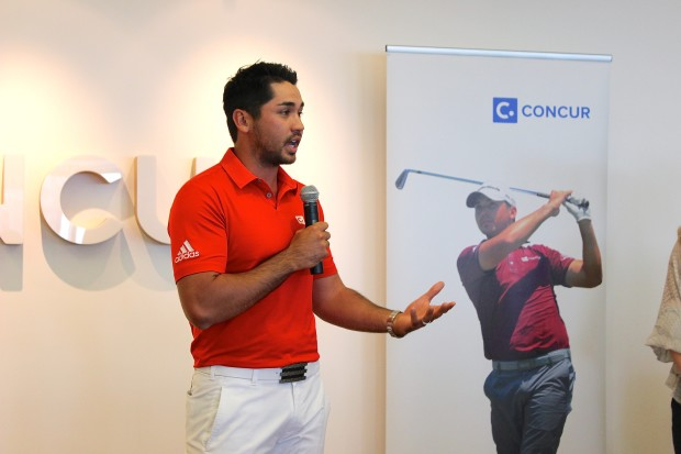 Jason Day speaks at Concur's headquarters in Bellevue, Wash. this past June.