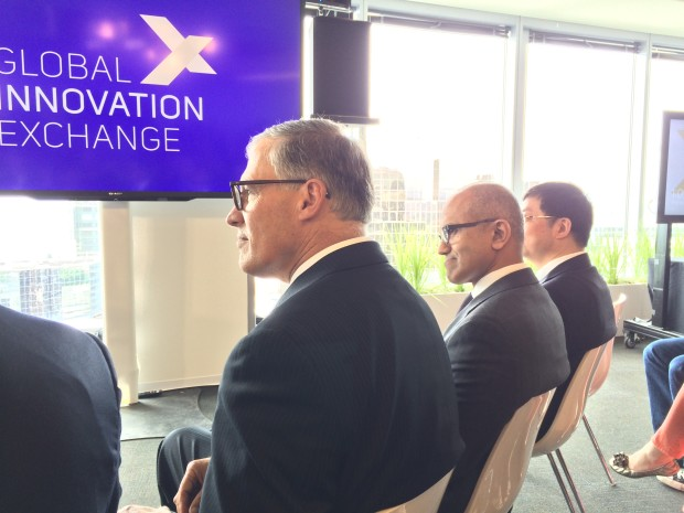 Washington Gov. Jay Inslee and Microsoft CEO Satya Nadella at the GIX announcement on Thursday.