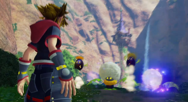 Rapunzel's tower is visible in the background of this screencap from the Kingdom Hearts III trailer.