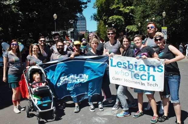 Photo via Facebook/Lesbians Who Tech at Pride Parade, Portland