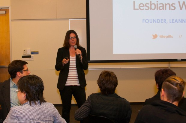 Lesbians Who Tech founder Leanne Pittsford talks at Microsoft