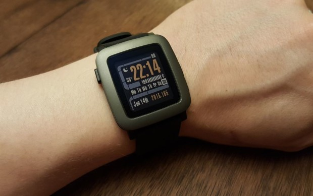 """Pebble Time with the Star Trek LCARS-inspired """"TrekV3"""" watchface"""