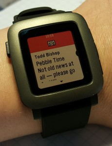 Incoming email notification on Pebble Time