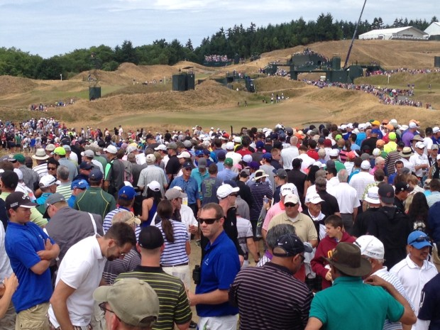 Crowds such as these at Chambers Bay make viewing a challenge.