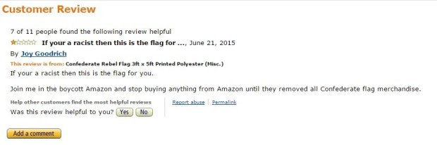 confederate flag on amazon review