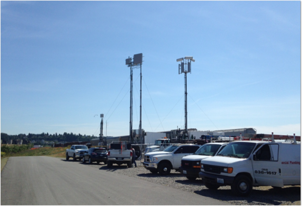 AT&T set up two cell tower-on-wheels in preparation for the U.S. Open.
