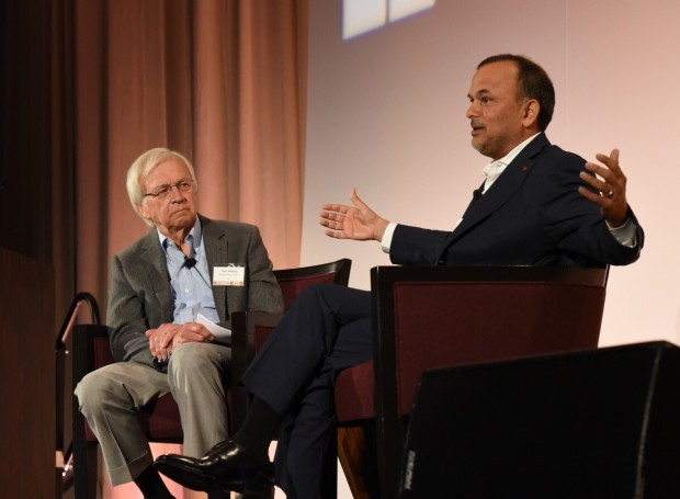 Tom Alberg, left, interviews Steve Singh at the Technology Alliance annual luncheon.