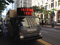 "We spotted this Amazon ""Treasure Truck"" in downtown Seattle on Tuesday."