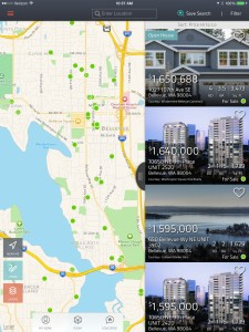 Searching for a home on the Xome iPad app.