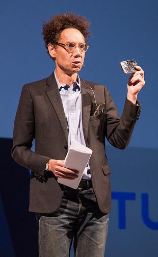 Malcolm Gladwell still rocks a Blackberry. Photo via Tune.