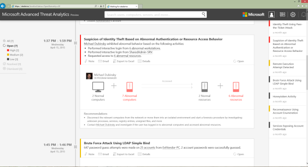 An example of Microsoft's Advanced Threat Analytics detecting suspicious user activity.