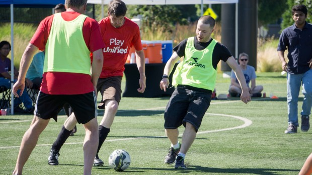 Microsoft employees and special guests playing soccer
