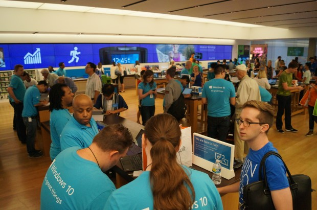 Windows 10 launch event at the Microsoft store in Bellevue Square Mall.