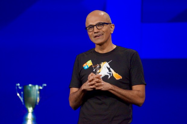 Microsoft CEO Satya Nadella before presenting the Imagine Cup.