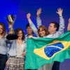 Team eFitFashion from Brazil celebrates its Microsoft Imagine Cup world championship.