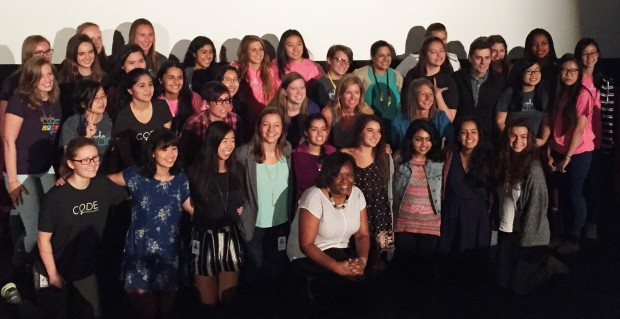 Panelists with a class of Girls Who Code