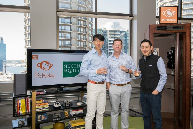 PicMonkey CEO Jonathan Sposato (left) with Spectrum Equity's Pete and Ethan Choi. Photo courtesy of PicMonkey.
