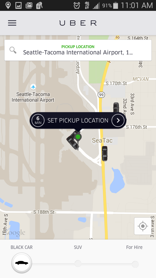 Uber, meanwhile, does not passengers to hail an uberX at Sea-Tac.