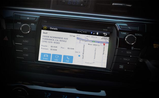 A mockup of the new Telenav integration in a Toyota dashboard. Images via Toyota, Telenav; mockup by GeekWire