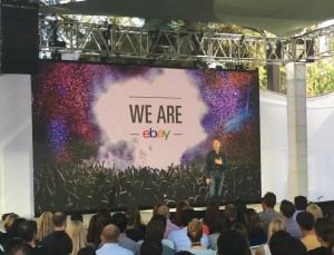 eBay CEO Devin Wenig talks to eBay employees on day one of the spin-off. (Photo via @ebaynewsroom)