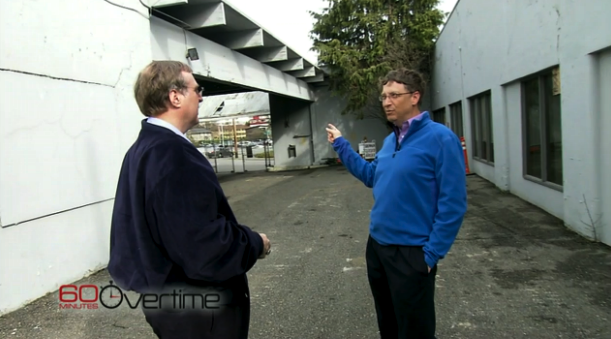 Allen and Gates touring the former CCC site in an archival video. (Via CBS News.)