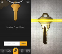 The KeyMe home screen on the left and the key-scanning process on the right