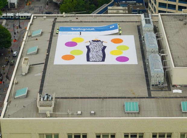 560a2f092a0 Nordstrom puts huge Instagram on flagship store roof for Anniversary ...