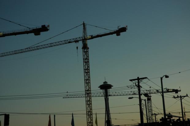 Cranes over Seattle. Photo via Wonderlane on Flickr.