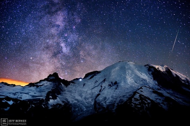 Mount Rainier and meteor