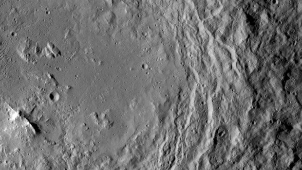 Mountain ridge in Urvara Crater